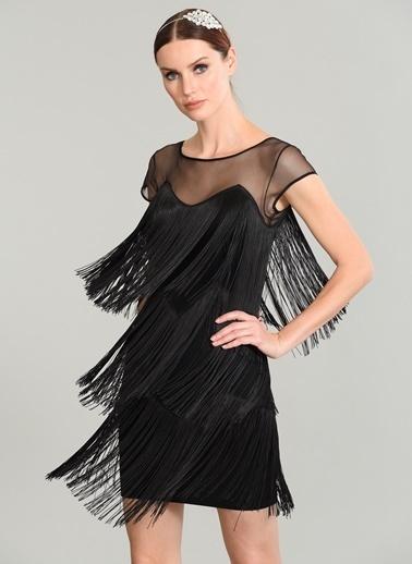 People By Fabrika Tül Detaylı Püskül Elbise Siyah